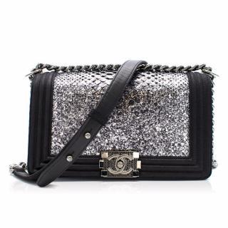 Chanel Black/silver Python Embellished Buckle Boy Bag