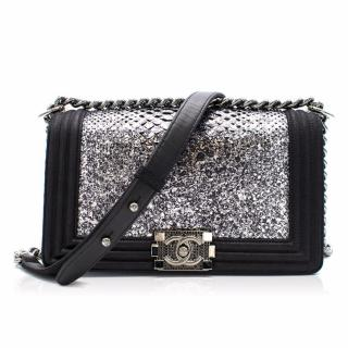 Chanel Black/silver Python Embellished Buckle Boy Bag