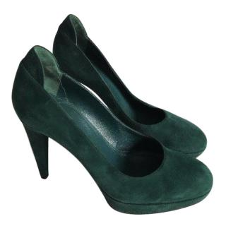 Sergio Rossi forest green pumps