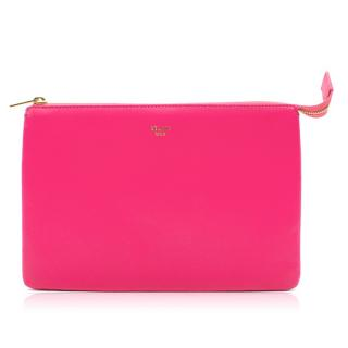 Celine Fuchsia Leather Solo Trio Cosmetic Pouch