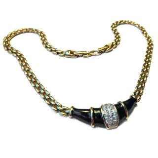 Nina Ricci Gold Crystal & Enamel Necklace