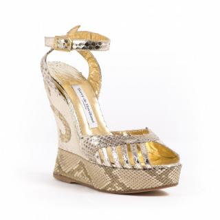 Terry DeHavilland gold Margaux Wedge