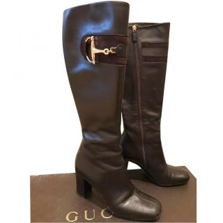 Gucci black leather knee boots
