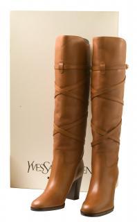 YSL Tan long boots