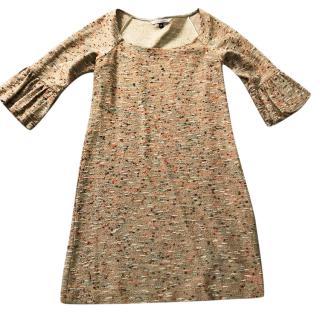 Diane von Furstenberg Oatmeal Gold Metallic Dress