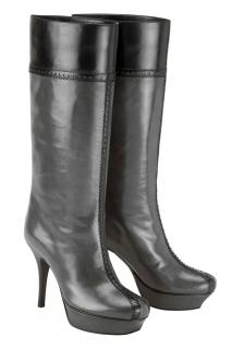 YSL charcoal grey & black 3/4 length platform pull on boots
