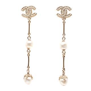 Chanel CC Logo Pearl Long Earrings