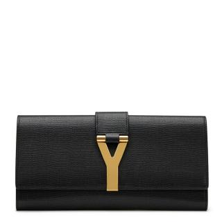 Saint Laurent Black Grained Calfskin Classic Y Clutch
