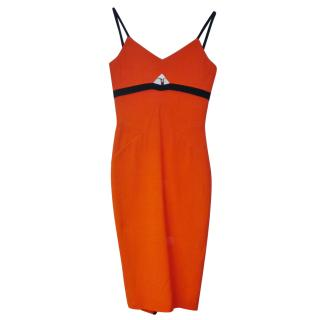 VICTORIA BECKHAM ORANGE ZIP DRESS