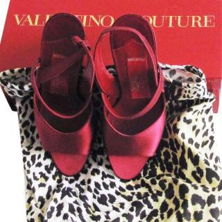 Valentino couture burgundy silk heels