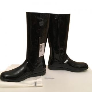 DOLCE&GABBANA flat  leather  knee boots