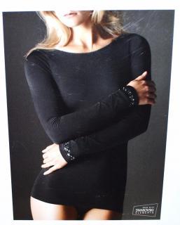 Wolford black stretch top with Swarovski elements