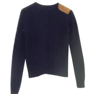 Ralph Lauren Cashmere Blue Cable Knit Jumper