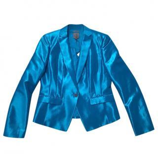 Calvin Klein iridescent turquoise blazer