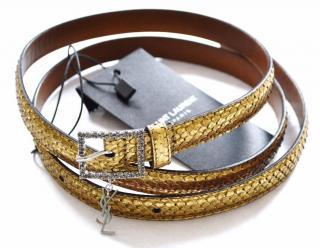 Saint Laurent gold python belt with crystal buckle