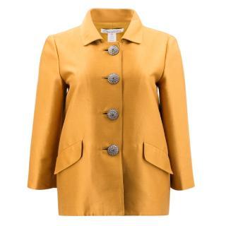 Oscar de la Renta Mustard Shantung Short Jacket