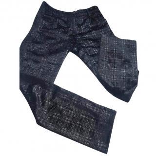 Chanel sparkle straight black plaid trousers