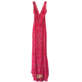 Elie Saab bright pink beaded, tailed gown