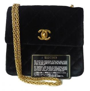 Chanel Vintage Black Velvet Crossbody Bag