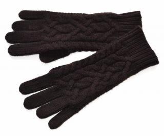 Ralph Lauren Black Label cashmere cable knit brown gloves