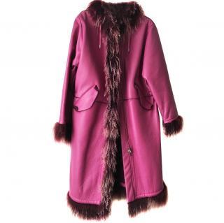 Pollini Leather & Fur Parka Coat