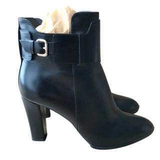 Tods Leather Black Ankle Boots