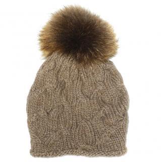 INVERNI Cable Knit Cashmere Fur Pom Pom Beanie Hat