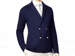 Ralph Lauren Purple Label navy double-breasted cashmere blazer-cardia
