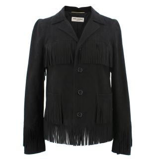 Saint Laurent Fringed Black Goatskin Jacket