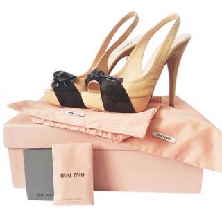 Miu Miu Nude/Cream & Black Leather Peep Toe Pumps