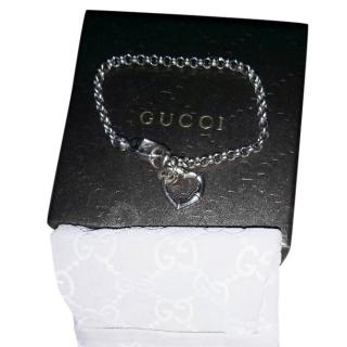 Gucci sterling silver bamboo heart bracelet
