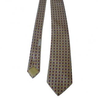 Hermes Scroll Motif Yellow Gold Silk Neck Tie 7696 OA
