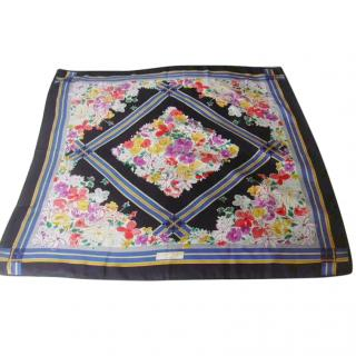 Courreges Paris Floral Navy Blue Border Silk Scarf