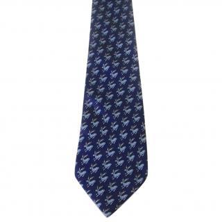 Hermes Paris Reindeer Motif Blue Silk Neck Tie