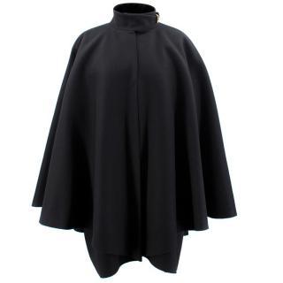 Gucci Black Wool Velvet Collared Cape
