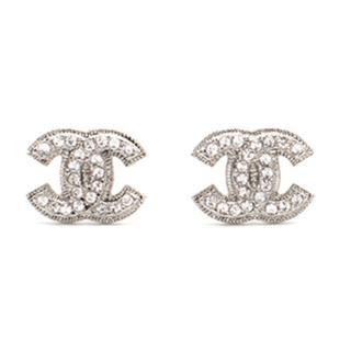 Chanel Silver Crystal Earrings