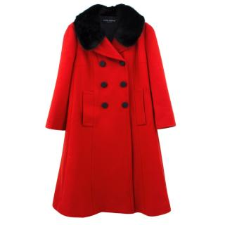Dolce & Gabbana Red and Black Mink Collar Coat