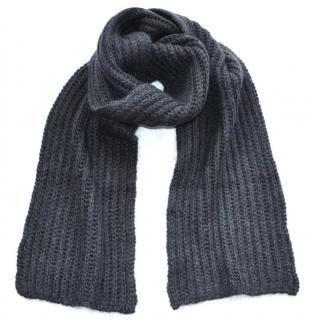 Marni grey-charcoal alpaca wool blend scarf