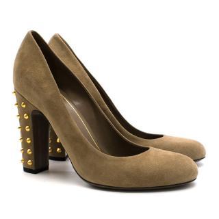 Gucci Beige Block Heels with Gold Studs
