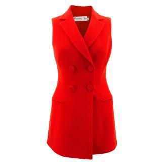 Christian Dior Sleeveless Red Blazer Waistcoat