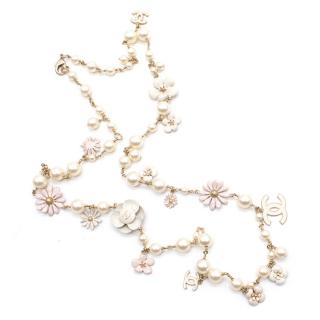 Chanel Gold Pearl and Floral Necklace
