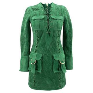 Balmain Suede Green Dress