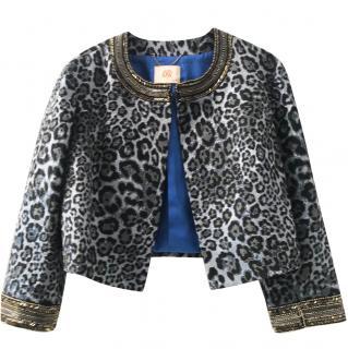 Matthew Williamson Jacket - Blue And Black Leopard Brocade Embellished