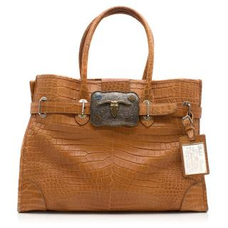 Ralph Lauren Croc Effect Camel Handbag