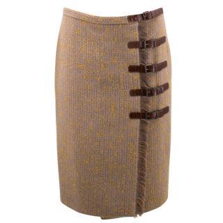 Alexander McQueen Midi Pattern Buckle Up Skirt