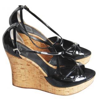 Dior black patent wedge heels