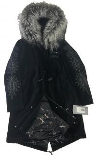 Mala Mati Fox Fur Trim Velvet Parka