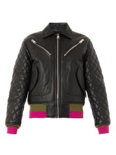 Jonathan Saunders Marley Quilted Leather Bomber Jacket