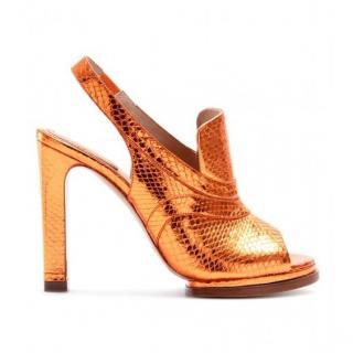 Chloe Snakeskin Open-Toe Sling-Back Mules Shoes
