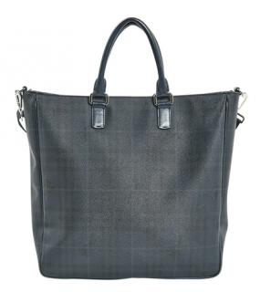 Burberry Navy Check Tote Handbag